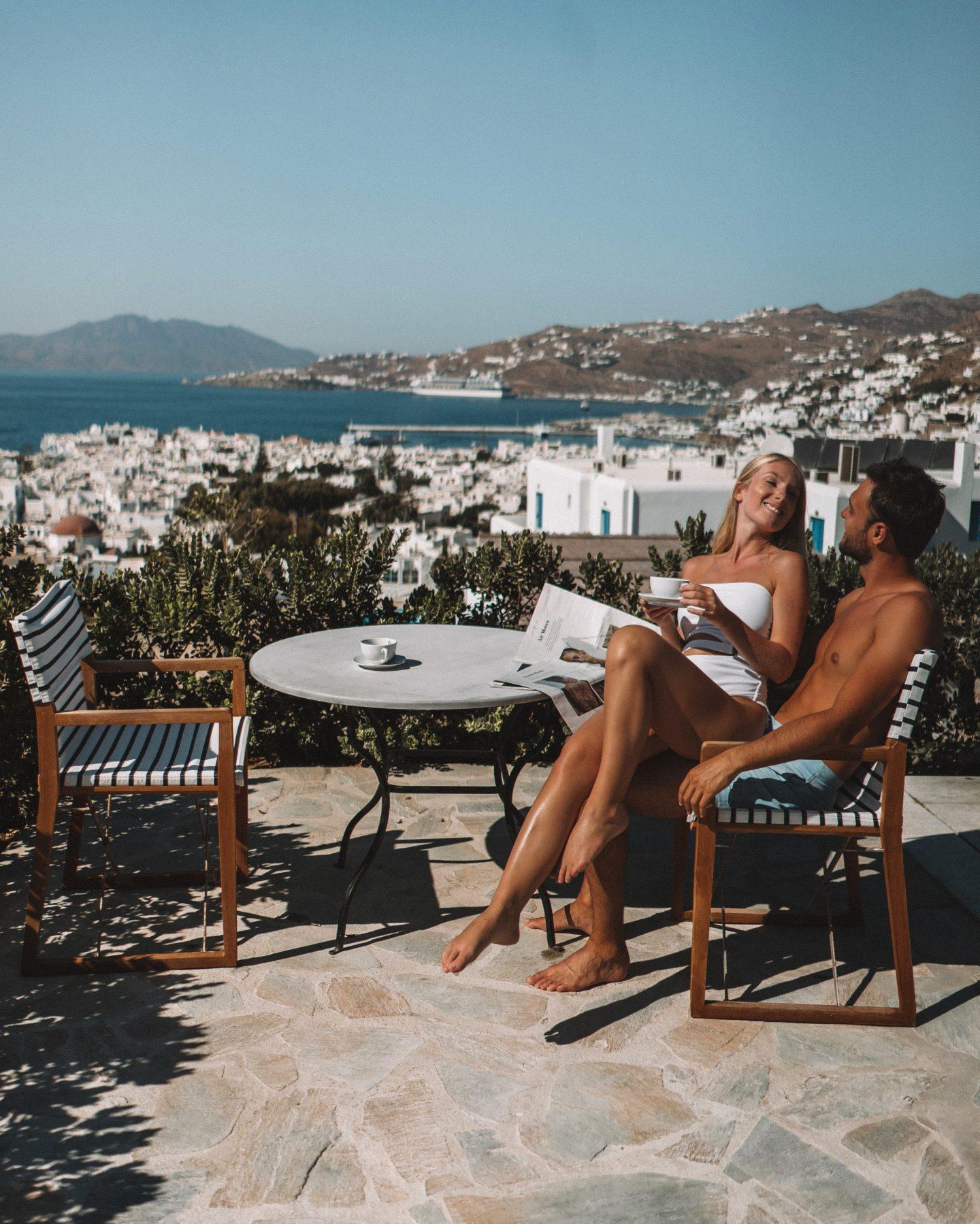 Belvedere hotel mykonos, view on the Aegan sea